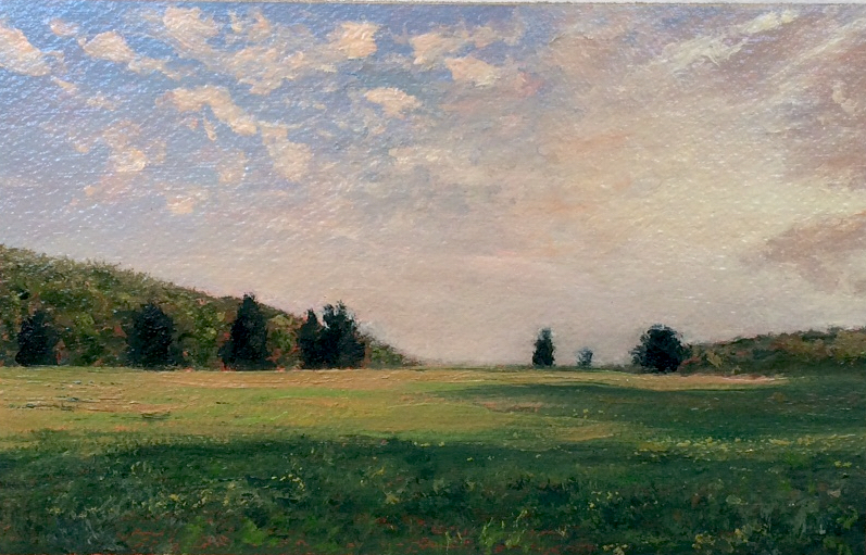 "Adam Straus (BIO), Long Island Green and Gray, 2009, oil on paper, 14"" x 17"""