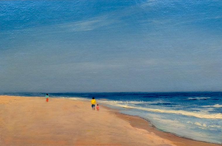 "Adam Straus (BIO), Colors On The Beach, 2009, oil on paper, 14"" x 17"""