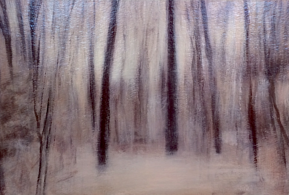 "Adam Straus (BIO), Winter Night, 2013, oil on paper, 14"" x 17"""