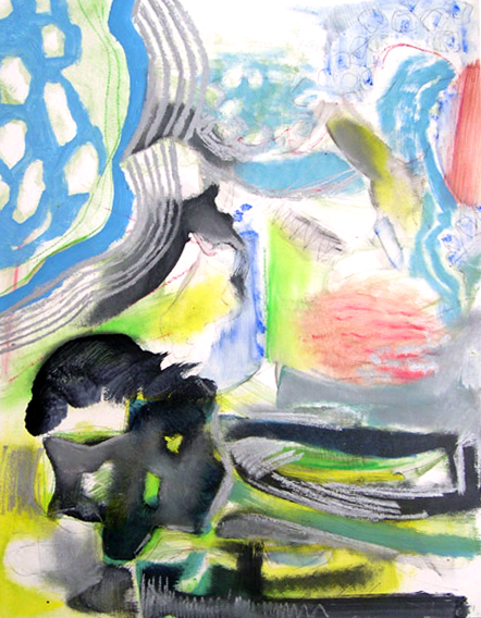 "Untitled 3, 2001, mixed media on paper, 43 1/8"" x 35 1/8"""