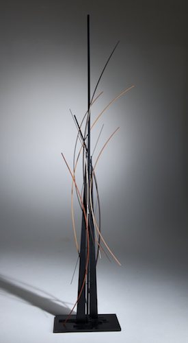 "John Schwartzkopf (BIO), Silhouette, 2014, paperstone, various woods, 97"" x 25"" x 11"""