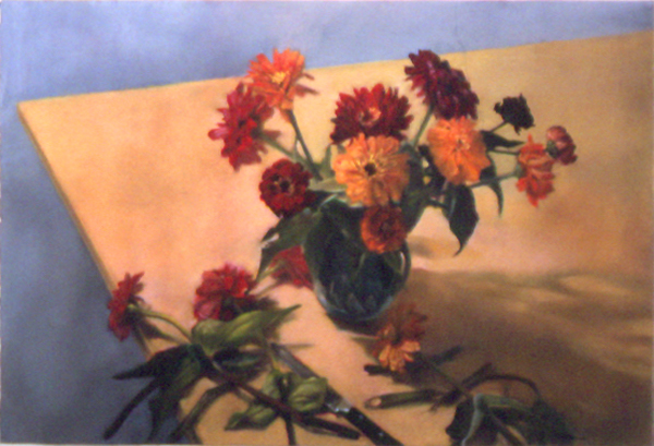 "Mary Joan Waid(BIO), Zinnias, 1996, pastel on paper, 41 1/4"" x 55 3/8"""