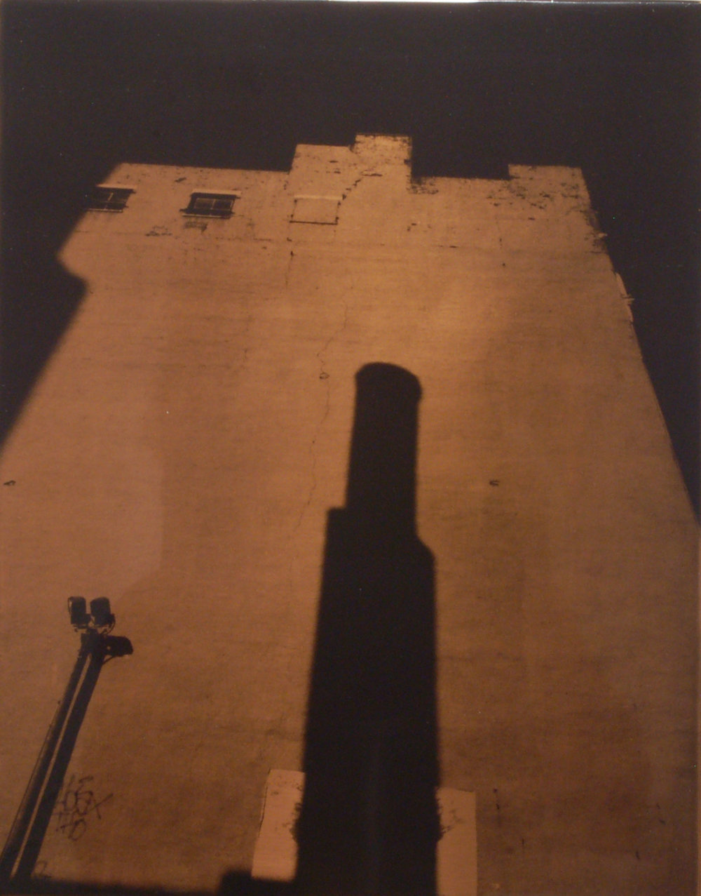 "Carl Goldhagen   (BIO) ,   Chimney  , 1996, photo emulsion on copper 1/5, 14"" x 11"""