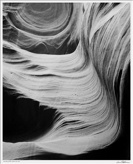 "Jerome Hawkins  (BIO)  ,   Antelope Canyon #6  , 2002, black and white photograph, print #1, 29"" x 25"""