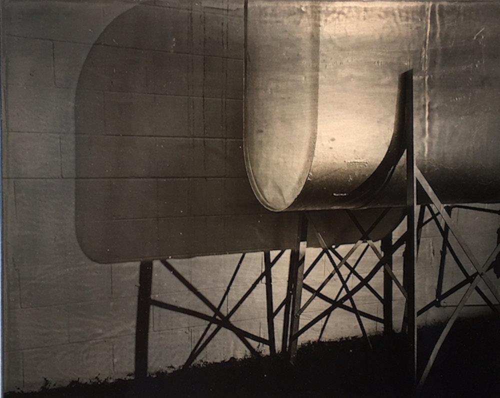 "Carl Goldhagen   (BIO) ,  Tank  , 1996, photo emulsion on lead 1/5, 12"" x 15"""