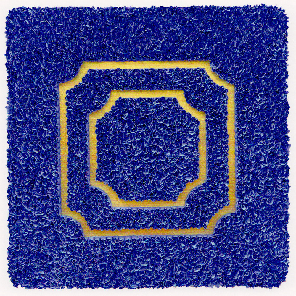 "Lore Bert, ""Divisions (blue),"" relief with Japanese paper and gold leaf, 22"" x  22"""