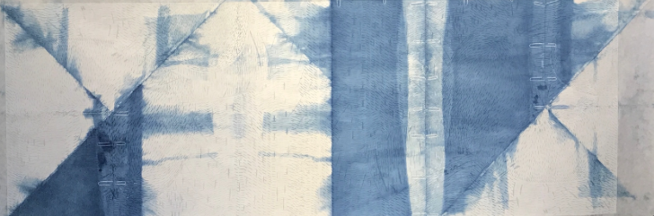"Coupe Ryding, Jeanne  (BIO)    Blue M  , 2012 woodcut print on Japanese paper with Indigo dye  1/1,  28"" x 78 1/2"""