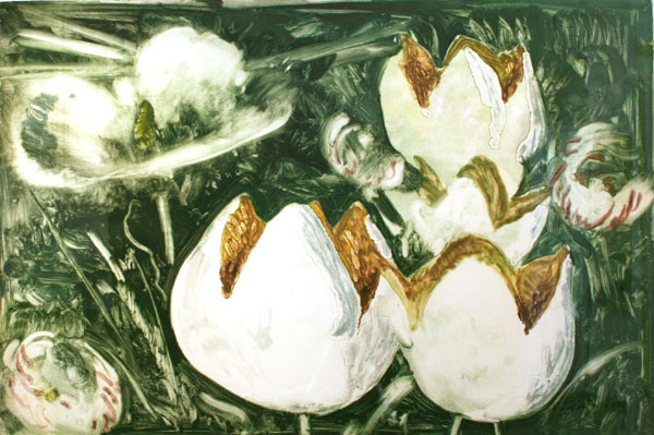 "Julio Larraz, ""Tulips,"" 1978 pastel on monotype 35"" x 50 3/4"""