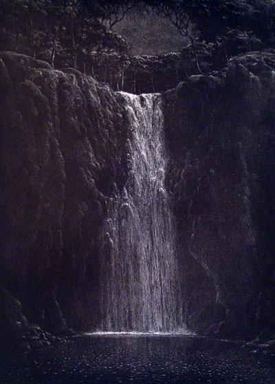 """Tomas Sanchez, """"Sonido de Aguas en la Noche,"""" 2009 etching 30 1/2 x 23 3/4"""""""