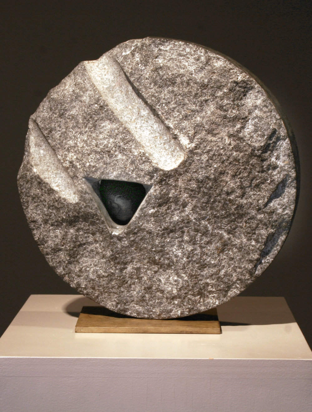 "Lika Mutal ""Small Stone of Origin,"" 1998 black granite and onyx 12"" x 12"" x 5 1/4"""