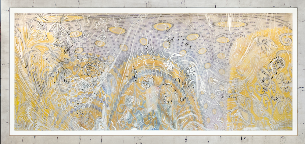 """Morning Raga,"" [8/12], 2017  woodcut, hand painted dye and ink archival inkjet, clear plastic film  44"" x 99 1/2"""
