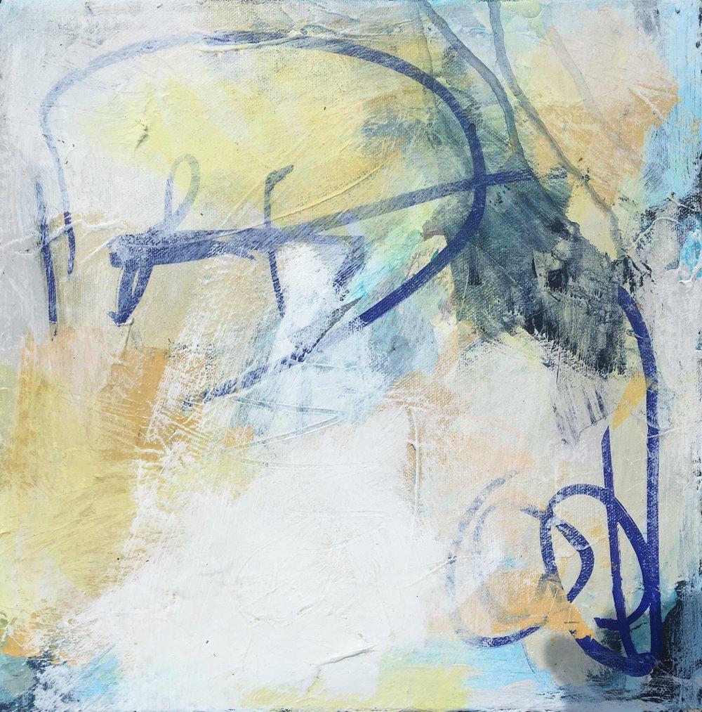 "Caroline Weld, ""White Haze,"" 2018 acrylic on canvas  13 1/2"" x 13 1/2"" x 2"""