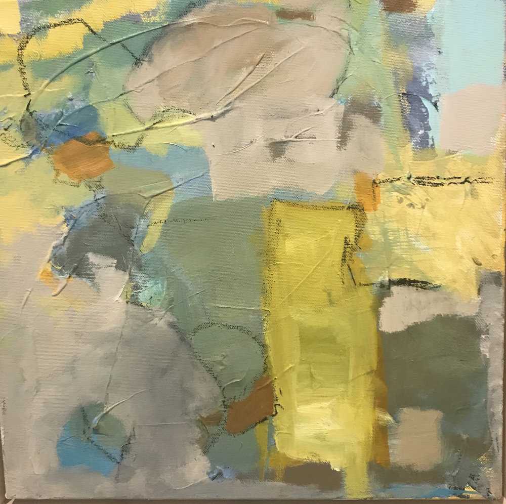 "Caroline Weld, ""Splash of Yellow,"" 2018 acrylic on canvas 13 1/2"" x 13 1/2"" x 2"""