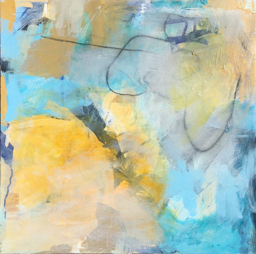 "Caroline Weld, ""Yellow Swirl,"" 2018  acrylic on canvas 25 1/2"" x 25 1/2"" x 2"""