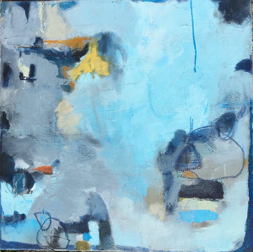 "Caroline Weld, ""Whirlpool Seas,""  acrylic on canvas 25 1/2"" x 25 1/2"" x 2"""