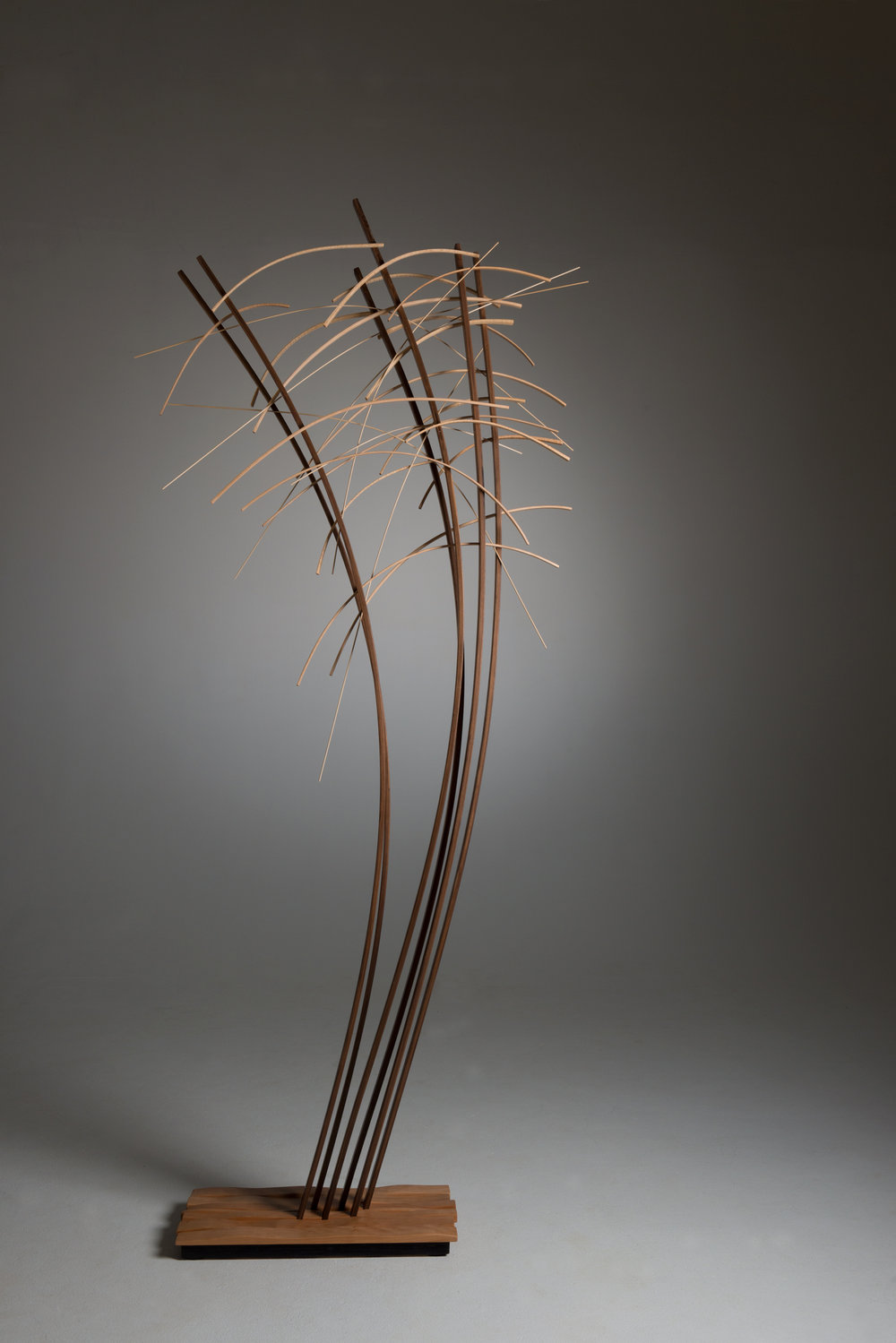 "John Schwartzkopf, ""Cascade,"" 2014 walnut, cherry, maple 98"" x43"" 12/12"""