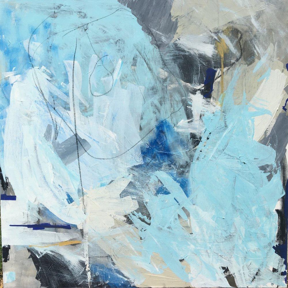 "Caroline Weld, ""Water Blind, "" 2018 acrylic on canvas 37 1/2"" x 37 1/2"""