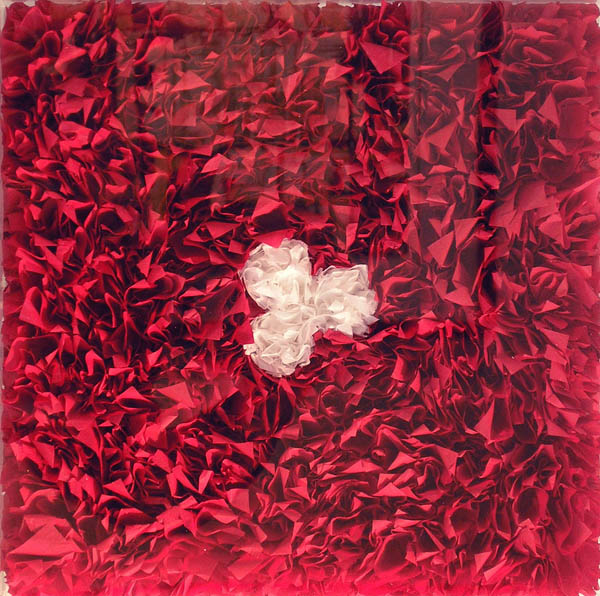"LORE BERT ""White Rosette on a Red Ground,"" 2002, 2/27"