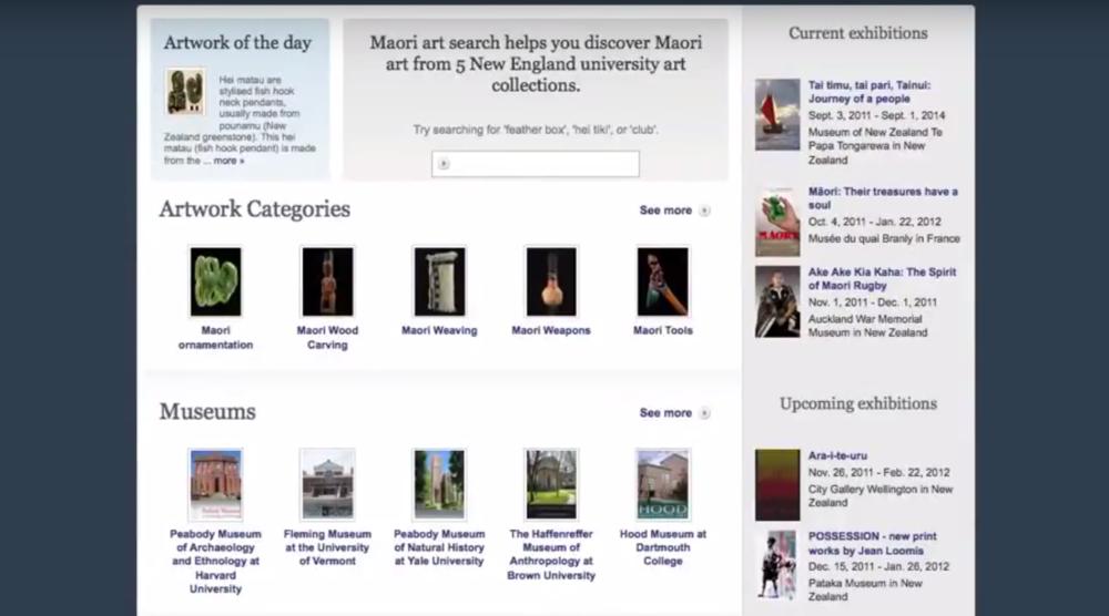 Maori Art Search, Tufts University  Digital Repatriation Project: 100 Maori Artworks from 5 University Collections