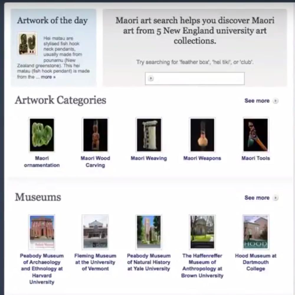 Maori Art Search Project at Tufts University