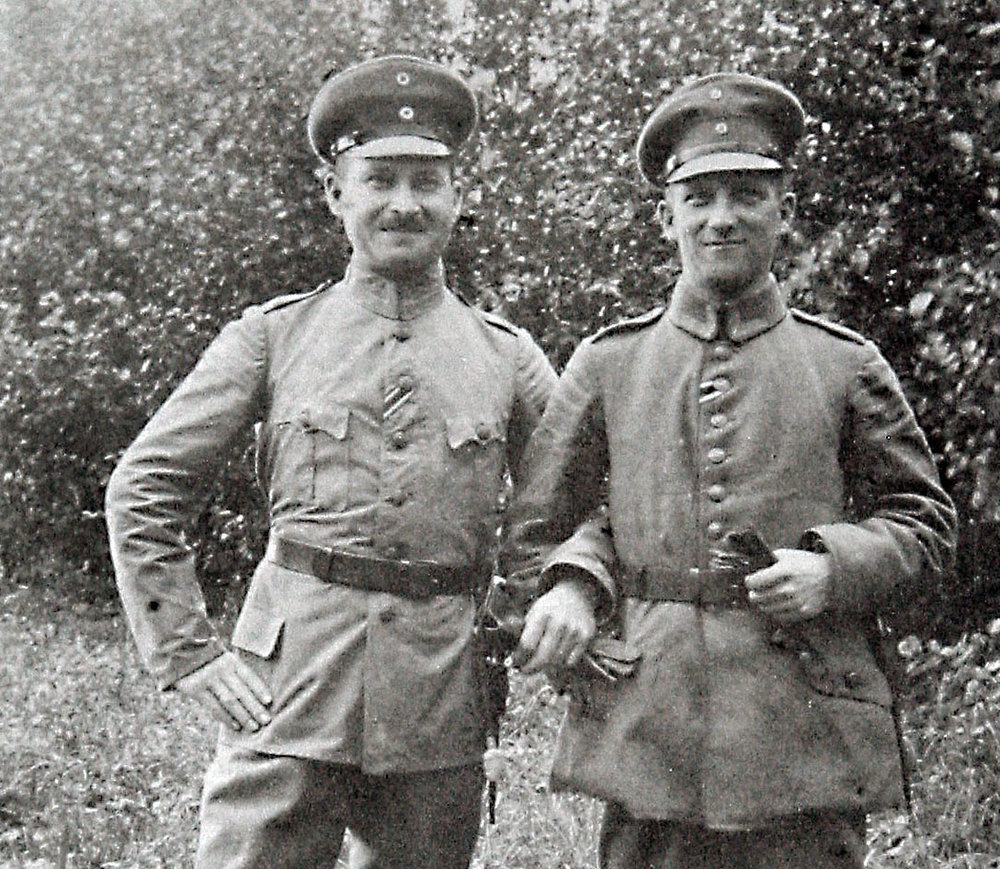 Riga, Latvia (Sept 6, 1918): Irene's father John Hasenberg (right) with friend and fellow World War One German officer Leo Buschhoff. During the World War Two Leo got Irene's family off the list to Auschwitz concentration camp where they would have most likely been killed. Leo and his wife didn't survive the Second World War.