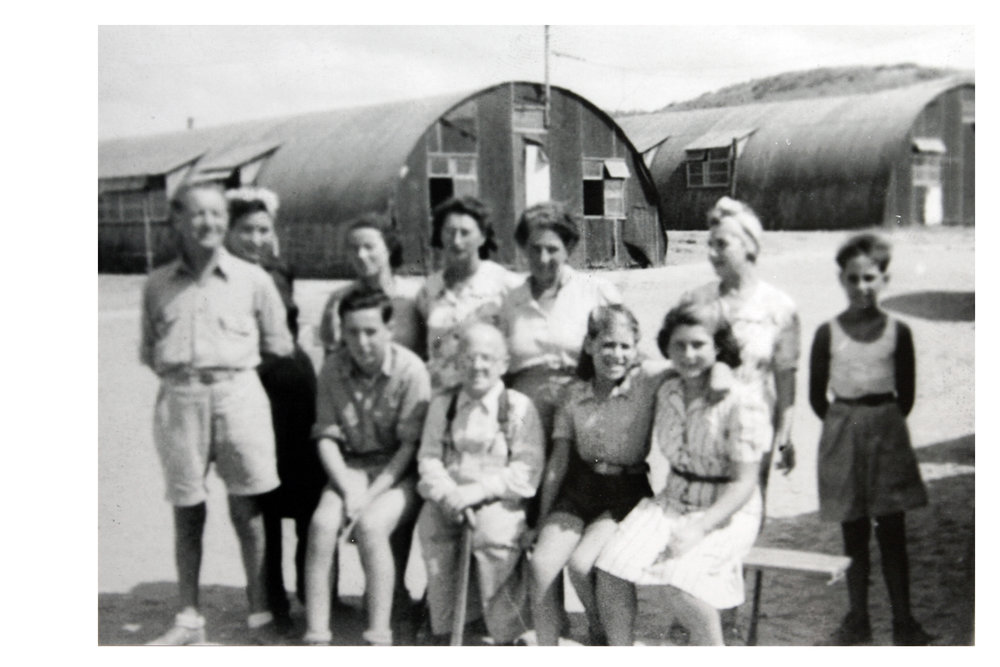 Displaced persons camp Jeanne d'Arc (Algeria, 1945): Irene (front row, far right) with friend, Mieke, to her right.