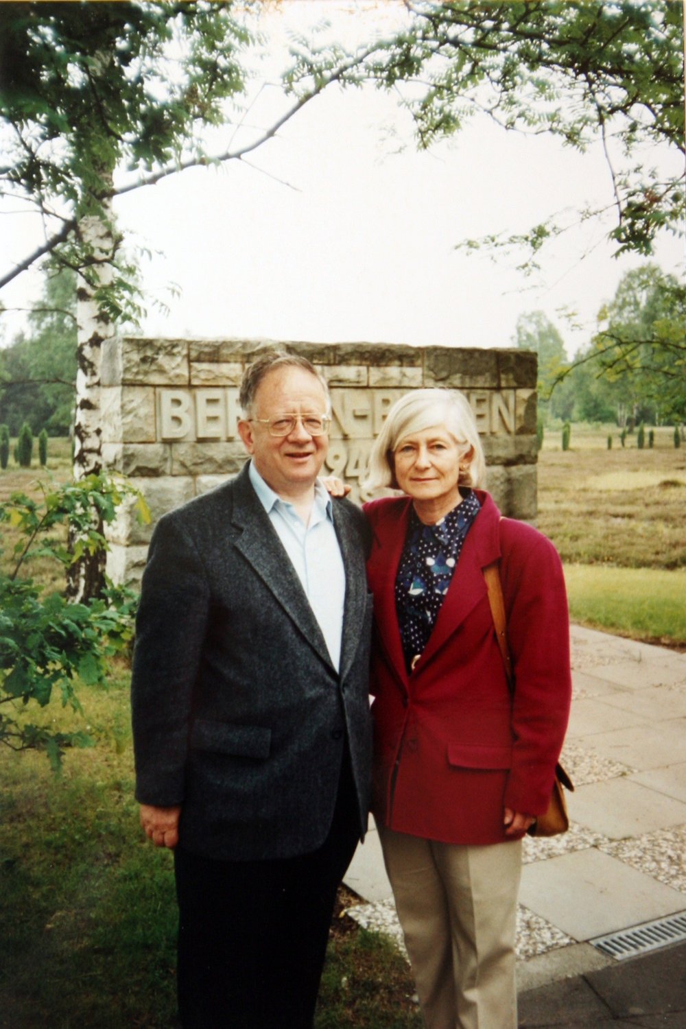 Irene and her brother Werner visiting the site of Camp Bergen-Belsen in 1991.