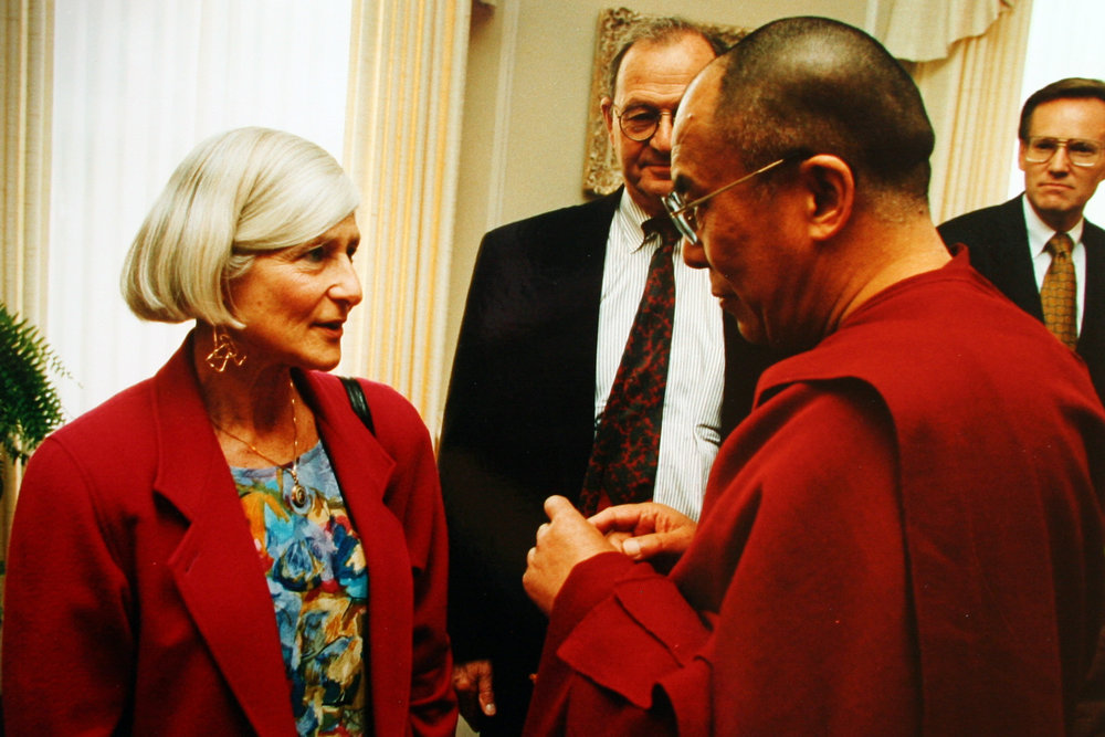 Irene with the Dalai Lama, the 1994 medal recipient.