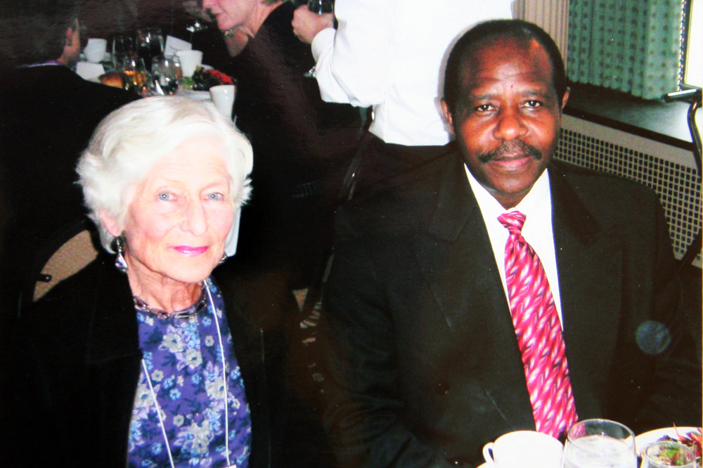 Irene with the 2005 medal recipient Paul Rusesabagina, the man who saved over 1,200 people during the Rwanda genocide.