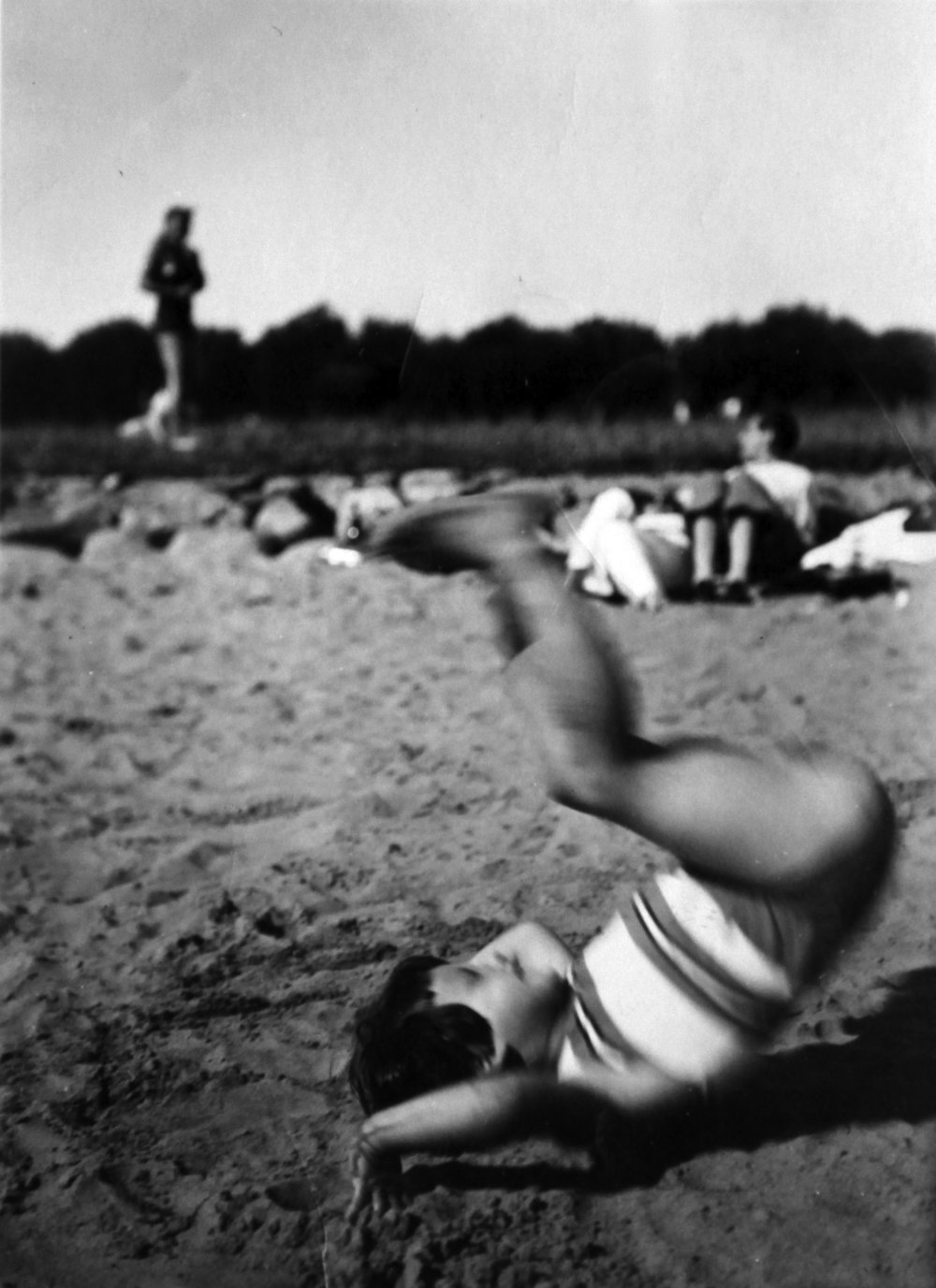 Here I am doing a somersault on the beach, circa 1935