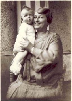 Irene with her maternal grandmother, Pauline Mayer or Omi as she was affectionately called, in 1931. Pauline and her husband Julius were not allowed to move from Germany, although they did later visit Irene's family in Amsterdam. They were deported to Theresienstadt concentration camp on August 17, 1942. Pauline was murdered on October 19 of that year and Julius on November 9.