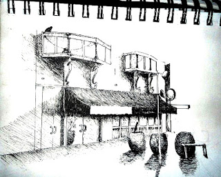 Urban sketch from the first Big Draw, 2012.