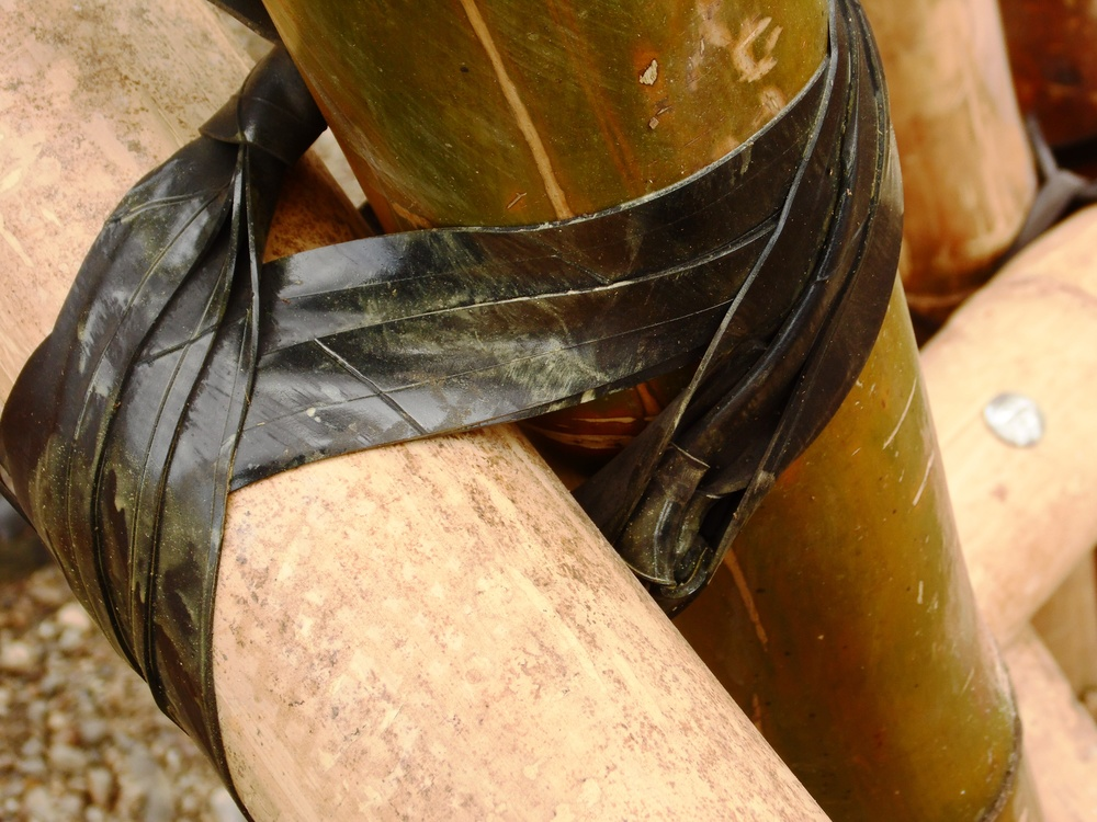 Tyre tubing used to connect bamboo.
