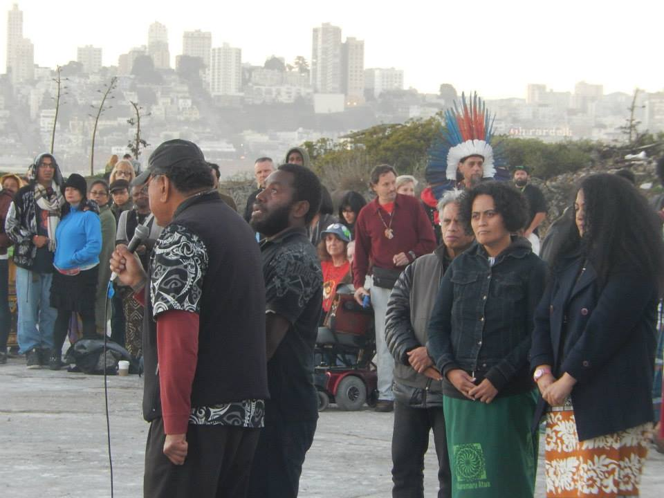 Doing the prayer and chant.  Image Courtesy of Alison Ehara-Brown 2014.