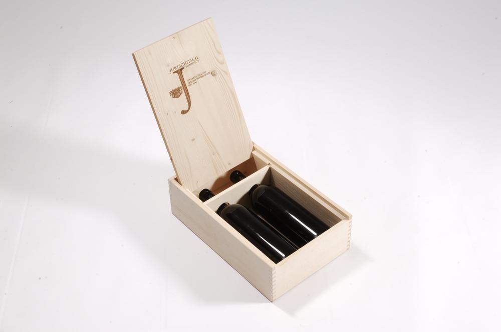 Weinkassette mit Displaydeckel für 2 Flaschen