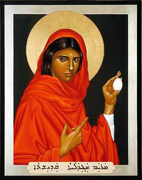 MIRIAM OF MAGDALA AKA MARY MAGDALENE IS RELATED TO ISIS,  A-SHE-RA (YEHWEH'S FORGOTTEN  WIFE) & OSTARA HER SYMBOLS ARE THE EGG & THE SACRED ROSE SHE IS GAIA SOPHIA-             THE FORGOTTEN CHRIST