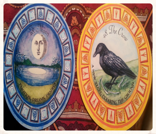 MOON & CROW JOIN US AS THIS WEEKS THEME CARDS: WITH THE UNYIELDING INFLUENCE OF THE MOON, THE TIDES TURN TO SUPPORT A NO NONSENSE ATTITUDE TOWARDS CLEARING OUT WHAT IS NO LONGER SERVING A PURPOSE IN YOUR LIFE. DEATH MUST COME BEFORE REBIRTH IN ORDER FOR THE CYCLE TO CONTINUE TO EVOLVE UPWARDS