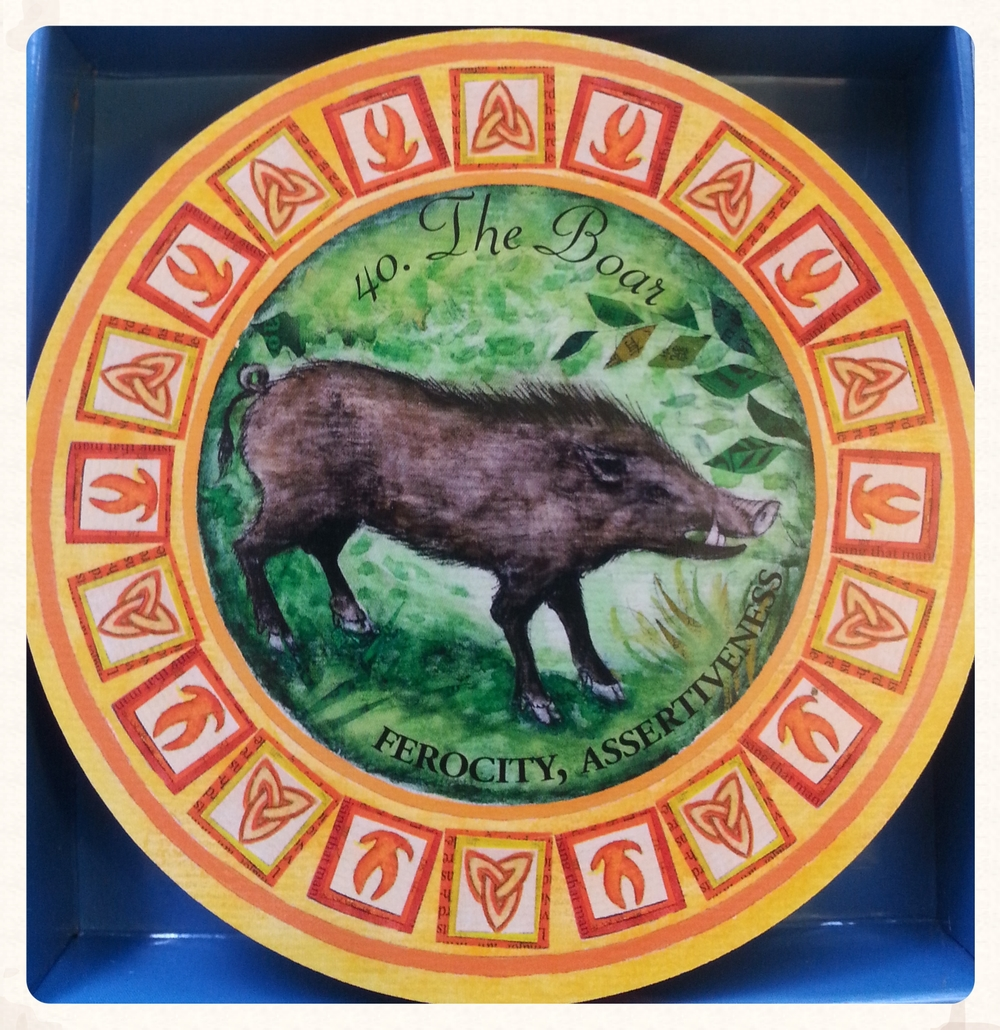 FREYA'S DAY AUGUST 21 2015     CARD 40- THE BOAR- SUIT-TOTEMS A NEW START, CLEARING THE GROUND