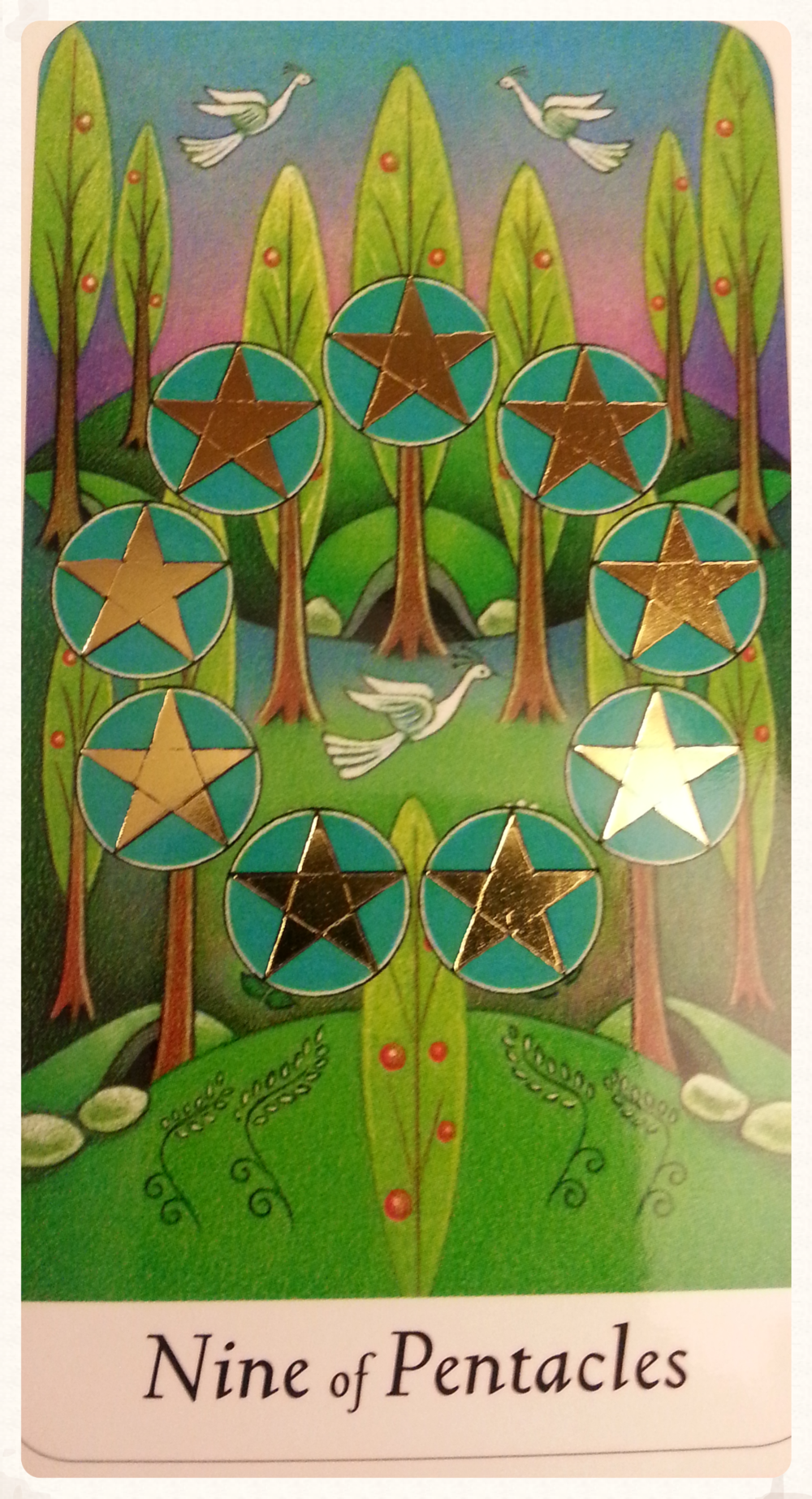 CARD FOR SATURN'S DAY AUGUST 29TH 2015:NINE OF PENTACLES MINOR ARCANA