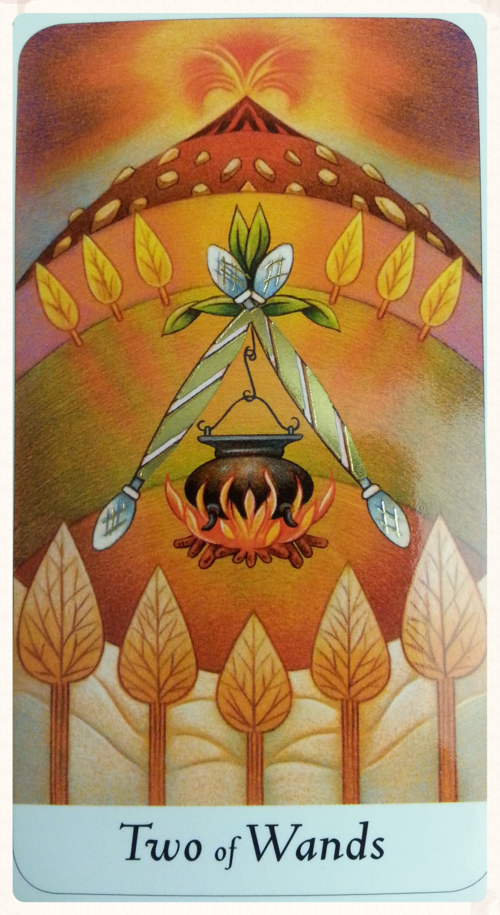 CARD FOR THEME OF THE WEEK;   AUGUST 29TH- SEPTEMBER 4TH 2015   TWO OF WANDS- MINOR ARCANA