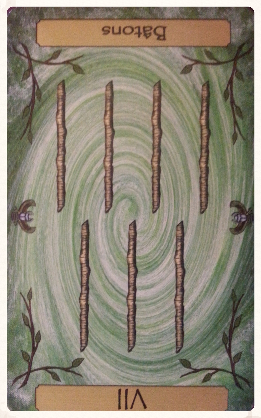 CARD OF THE DAY: SUN-DAY SEPTEMBER 13TH 2015- VII OF WANDS- REVERSED