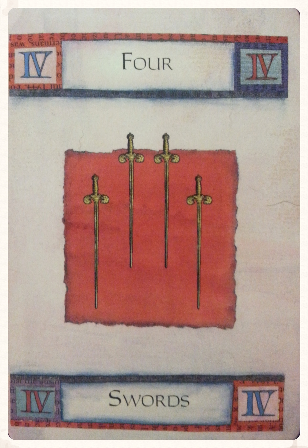 -THOR'S DAY SEPTEMBER 24TH 2015-   - MINOR ARCANA - FOUR OF SWORDS -