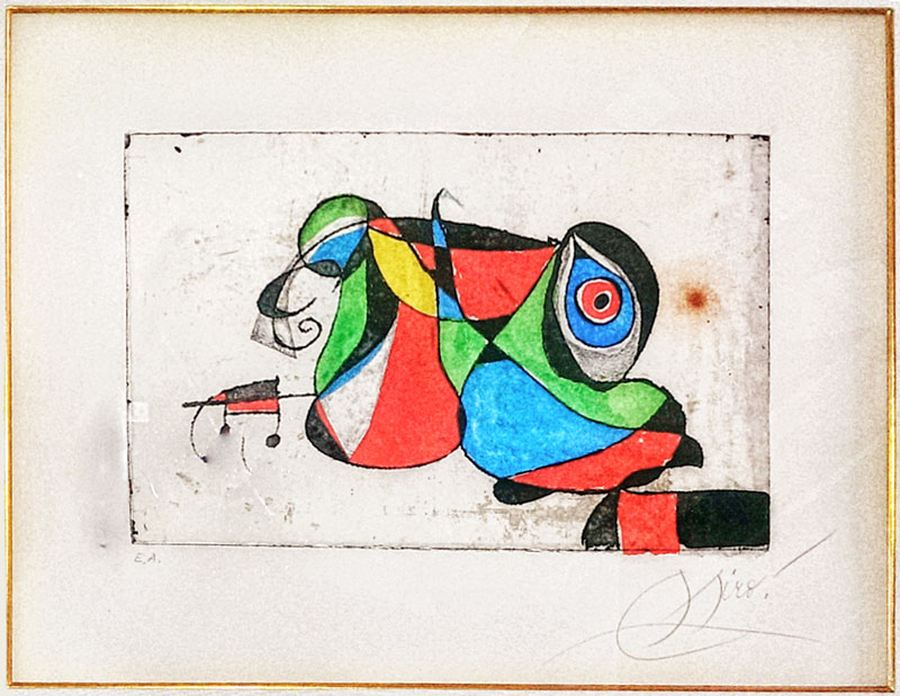 Joan Miró Serie Gaudi VI 1979 Etching and aquatint Edition of 50 + 15 HC's numbered I-XV, signed in pencil, Chine laid on Arches. 26 x 19.75 in.