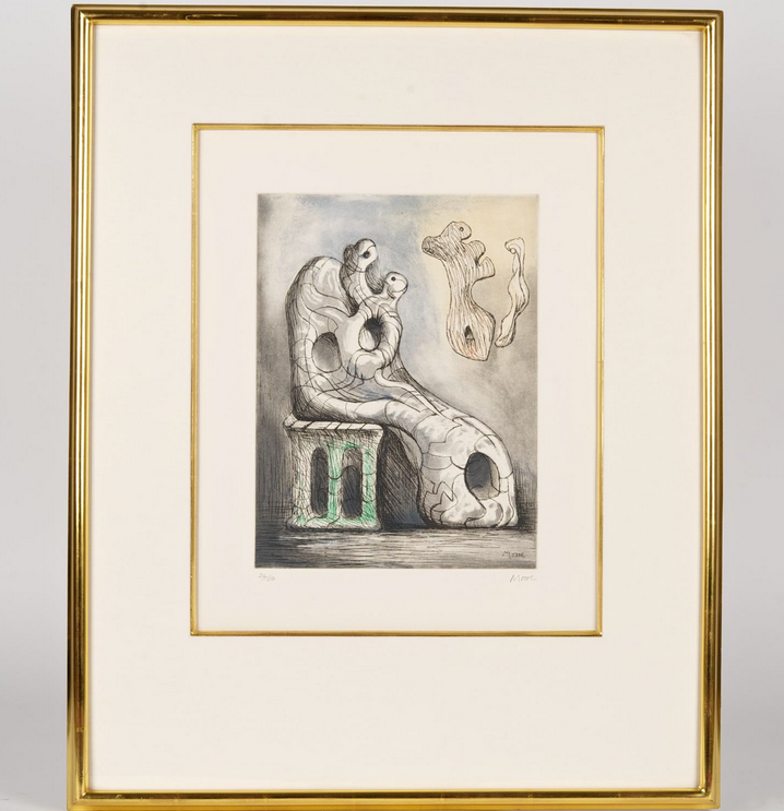 Henry Moore Seated Mother & Child 1980-81 Aquatint Edition 26/50 13.625 x 10.25 in. (34.6 x 26.0 cm.)