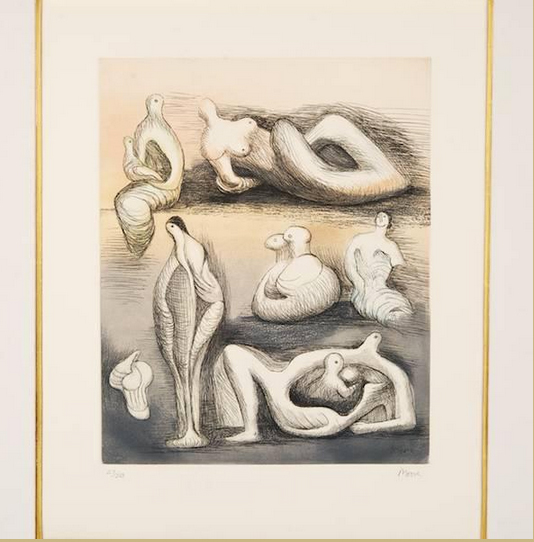 Henry Moore Seven Sculptural Ideas I  1980-81 Etching and aquatint Edition of 50 27 x 22.5 in. (68.6 x 57.2 cm.)
