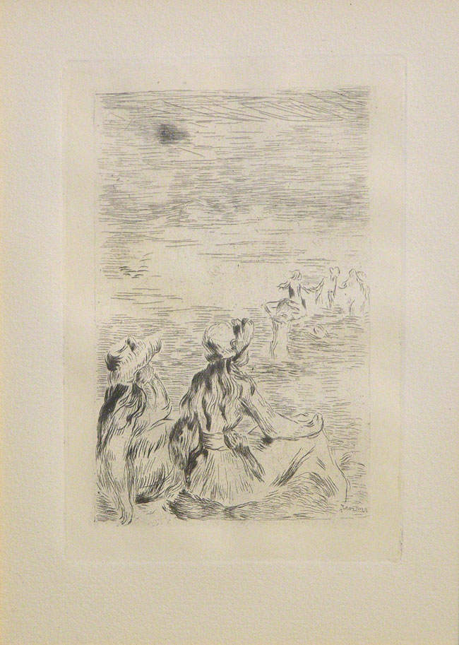 Pierre-Auguste Renoir Sur la Plage, à Berneval (On the Beach at Berneval) c. 1900 Etching Sheet size: 10 3/4 x 9 1/8 in. (27.3 x 23.2 cm.) Framed size: 23 x 21 1/4 in. (58.42 x 53.98 cm.)