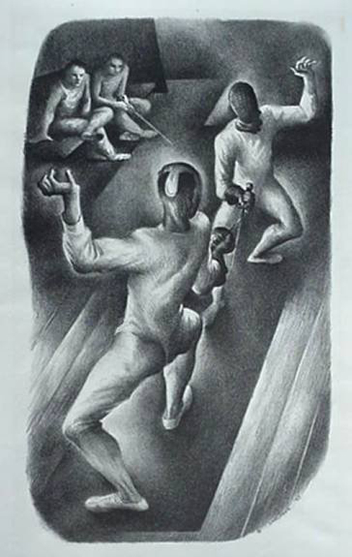 Benton Spruance  Fencers  1936 Lithograph 12 3/4 x 7 1/2 in.