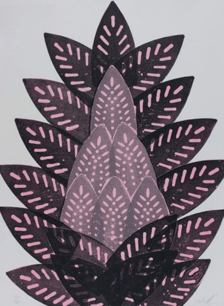 Willie Cole Pressed Iron Bud 2005 Three-color lithograph Edition of 20 30 x 22.13 in. (76.2 x 56.2 cm.)