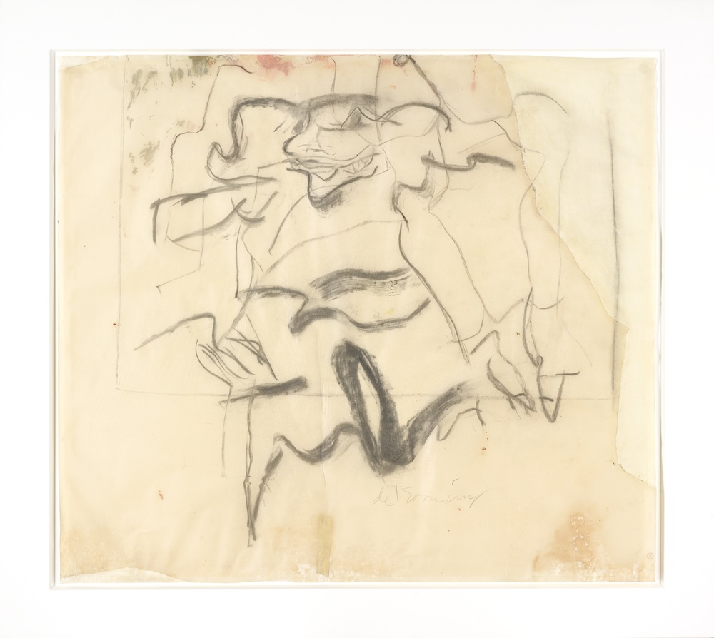 Willem de Kooning  Untitled  1964 30 x 35 in.  Charcoal, pastel and oil on vellum.  Signed in pencil. Framed.