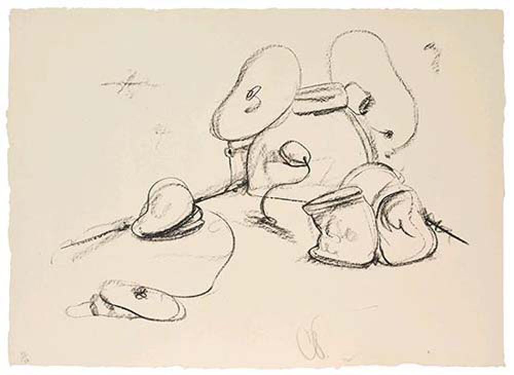 Claes Oldenburg  Soft Drum Set  1972 Lithograph 29 x 40 in.